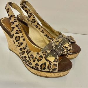 Sperry Slingback Leopard Cork High Heel Sandals